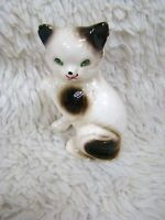 Vintage Ceramic Japan Siamese Cat Figurine w/ Green Eyes, Collectible Home Decor