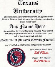HOUSTON TEXANS, TEXANS  FOOTBALL    MAN CAVE   CERTIFICATE   DIPLOMA  GIFT