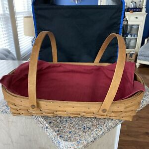 """Longaberger Classic Large Basket with Two Handles & lid 18 x 4 1/2"""""""