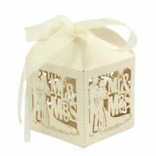 25 x Beige Mr & Mrs Laser Cut Candy Box Wedding Party Favor Ribbon Sweets Gift
