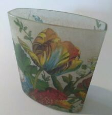"""Papier Mache Vase 6"""" Small Glass + Floral Paper Applied Oval new flowers spring"""