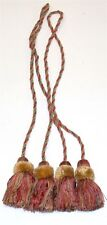 "(2) ADO Rope Curtain Tiebacks w/ Tassels ~ Rust Green Gold ~ 34"" L **NEW**"