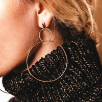 GORGEOUS GOLD  PLATED DOUBLE HOOP STUD EARRINGS BOHO GIFT RD2