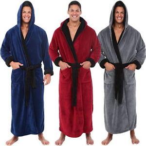 Mens Robe Bath Robe Coat Hooded Bathrobe Soft Keep Warm Belt Dress Robe Homewear