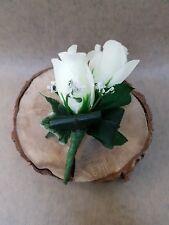 Double rose artificial buttonhole, wedding flowers, groom's buttonhole, corsage.