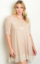 WOMENS PLUS DRESS 1X TUNIC TOP NEW 14 16 XL BEIGE LACE NWT CUTE SUMMER DEAL