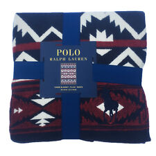 Polo Ralph Lauren Big Pony Red Blue Southwest Aztec Beacon Throw Blanket 50 x 70