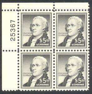 U.S. #1053 Mint NH Plate Block - 1956 $5.00 Hamilton ($210)