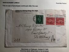 1945 Manchester England War Economy Label Cover To Pittsburg Pa USA