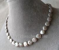 kultivierte 9-10mm grau Münze Barock Süßwasser Perlenkette 17 Zoll