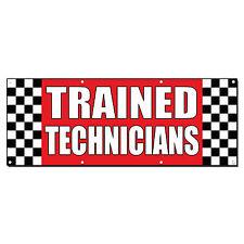 Trained Technicians Auto Body Shop Car Repair Banner Sign 2' x 4' /w 4 Grommets