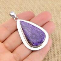 Charoite 925 Sterling Silver Large Heavy Pendant Gemstone Jewellery