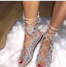 ZARA Silver Leather Lace Up Glitter Roman Gladiator Flat Sandals UK 4 Euro 37
