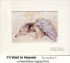 Fawn Greyhound Angel Waits In Heaven Signed Art Print Artist Kevin Z Arttogo NEW