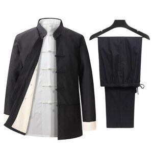 Men's Vintage Chinese style Tang suit 2 PCS Set Kung fu Jacket pants Set Linen L
