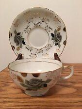 Grey Roses Gold Design Tea Cup & Saucer Japan