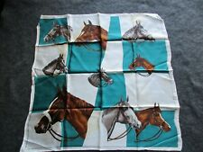 """New listing Horses, Vintage Equestrian Lady'S Scarf, 30"""" X 30"""" Horse Motiff , Sd-04591"""