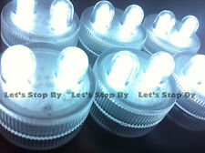 10 WHITE Dual LED Tea Light Submersible Floralyte Centerpiece underwater Wedding