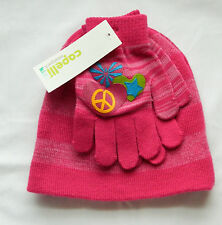 NWT Girl's 4-6X Capelli Kids Pink Stretch Winter Beanie Cap & Gloves