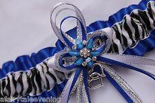 Bling ROYAL BLUE ZEBRA Glitter GARTER Prom Wedding Formal Bridal Exotic Dancer