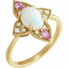 Genuine Ethiopian Opal Cab & Pink Sapphire Gems & .05 ctw Diamonds Ring 14K Gold