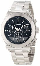 Ferragamo Men's F78LCQ9909 S099 1898 Chronograph Black Dial Date Steel Watch
