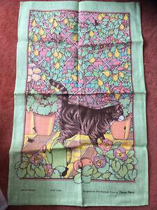 The National Trust Tea Towel Cat & Mouse Deborah Marion Linen Unused Vintage
