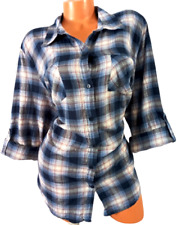 Mossimo blue plaid metallic shimmer spandex stretch roll up sleeve top 2 , 2X