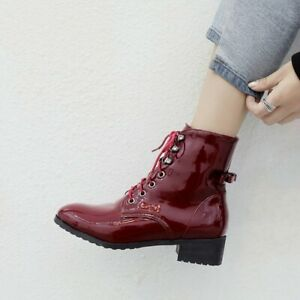 Fashion Women Ankle Boots Square Toe Heel Combat Boots Shoes Woman Size 3-10.5