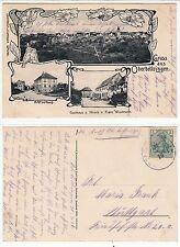 Oberbettringen bei Schwäbisch Gmünd, Rathaus Gasthaus Hirsch und Dorf 1916