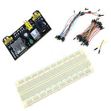 MB102 Power Supply Module 3.3V 5V+Breadboard Board 830 Point+65 Jumper cable fc