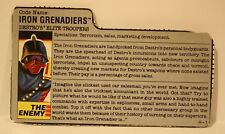 Vintage Gi Joe File Card Iron Grenadiers