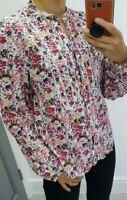 Laura Ashley floral V neck button up long sleeve shirt 100% cotton size UK 12