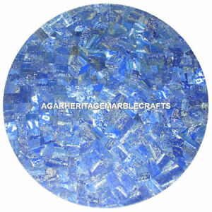 """12"""" Exclusive Marble coffee Table Top Lapis Lazuli Mosaic Inlay Outdoor Decor"""
