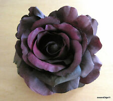 "4.5"" Variegated Plum Purple Rose Silk Flower Brooch Pin,Scarf,Hat,Corsage,Lapel"
