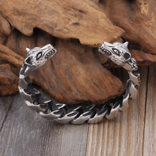Viking Stainless Steel Bracelet Odin's Wolf Heads Pagan Norse Arm Ring