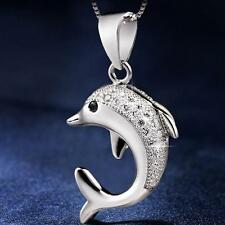Silver Plated Jewelry Pendant Jumping Dolphins Chain Necklace
