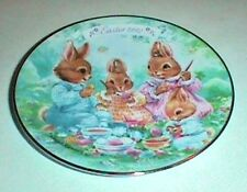1992 Easter Plate, Avon, Colorful Moments, New with Box and Stand 22K Gold Trim