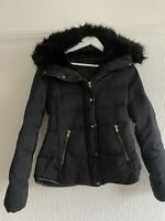 BLACK  QUILTED HOOD JACKET XS ZARA CASUAL TOWIE BOHO EVENING SUMMER XMAS WARM