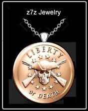 LIBERTY or DEATH Necklace - 2nd amendment copper coin skull head medallion z7qq