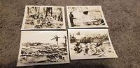LOT OF 4 WORLD WAR 2 PHOTOS SOLDIERS ORIGINAL 1940's SNAPSHOTS FLAMETHOWER SHIPS