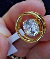 14K Gold Overlay Sterling Silver Pendant with Swarovski® Crystal - New