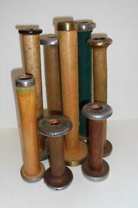 8 Vintage WOOD Empty Thread SPOOLS Antique Vintage Spools Textile