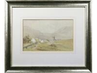 Irish Cottages / Mountain Landscape - Original Watercolour - British Art