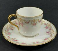 Tressmen and Vogt T&V Limoges Hand Painted Floral Roses Gold White Teacup Saucer