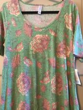 NWT Womens Lularoe Large Perfect T Shirt Top Green Coral Floral Roses Unicorn 🦄