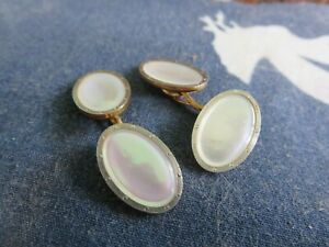 Vintage 14k Yellow Gold Mother of Pearl Double Button Cuff Links Art Deco RP15