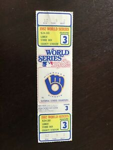 Unused 1982 World Series Game 3 Ticket from Milwaukee County Stadium