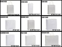 WHITE Kraft Shopping Gift Bags 60# paper weight Choose Size & Package Amount
