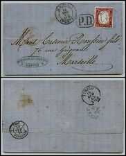 SARDEGNA nel REGNO - 40 cent(16F) - Letterina Napoli Porto->Marsiglia 12.7.1863